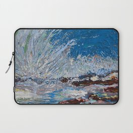 Ocean Waves - palette knife abstract painting of sea landscape Laptop Sleeve