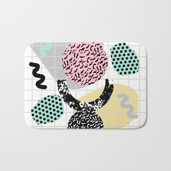 Righteous - abstract minimal throwback retro memphis style art decor wacka design Bath Mat