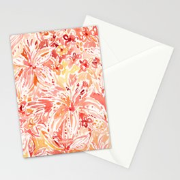 LILY LUST Peach Painterly Floral Stationery Cards