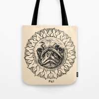 astronomy Tote Bags featuring Astronomy Pug by beart24