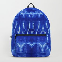 tie dye ancient resist-dyeing techniques Indigo blue textile abstract pattern Backpack