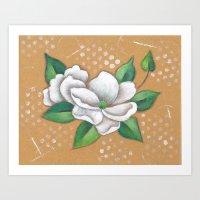 magnolia Art Prints featuring Magnolia by Judy Skowron