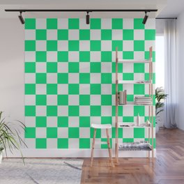 Checkered Pattern White and Spring Green Wall Mural