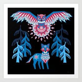A Northern Folk Winter Woods Midnight Sun Art Print