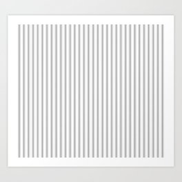 Mattress Ticking Narrow Striped Pattern in Charcoal Grey and White Art Print