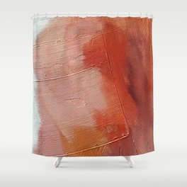 Desert Journey [1]: a textured, abstract piece in pinks, reds, and white by Alyssa Hamilton Art Shower Curtain