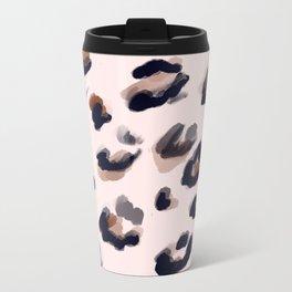 Blush and Leopard Print Metal Travel Mug