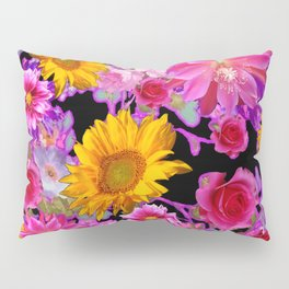 BLACK FLORAL TAPESTRY OF ASSORTED FLOWERS Pillow Sham