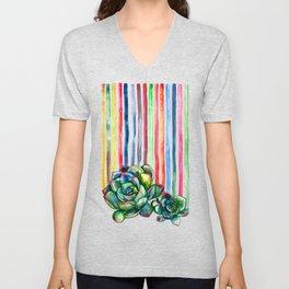 Rainbow Succulents - pencil & watercolor illustration Unisex V-Neck