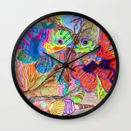 Mandarin Fishes in love Wall Clock
