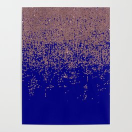 Glamorous Rose Gold Cobalt Blue Glitter Ombre Poster