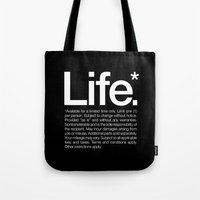 type Tote Bags featuring Life.* Available for a limited time only. by WORDS BRAND™