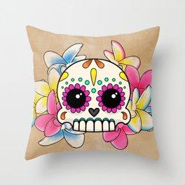 Calavera con Flores - Sugar Skull with Frangipani Flowers Throw Pillow