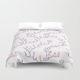 Pink watercolor magnolia pattern Duvet Cover