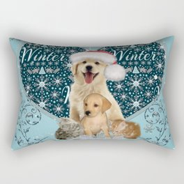 It's winter and christmas time, cute kitten and dogs Rectangular Pillow