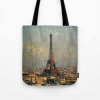 fitzgerald Tote Bags featuring I love Paris by inourgardentoo