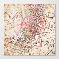 austin Canvas Prints featuring Austin by MapMapMaps.Watercolors