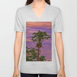 Papaya Tree And Brazilian Sunset Unisex V-Neck