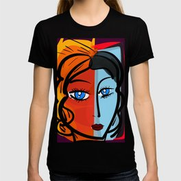 Red Blue Pop Girl Portrait Expressionist Art T-shirt