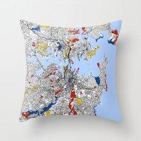 sydney Throw Pillows featuring Sydney by Mondrian Maps