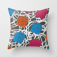 MULTI ROSE SQUIGGLE Throw Pillow