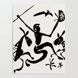 warrior and goofy horses Poster
