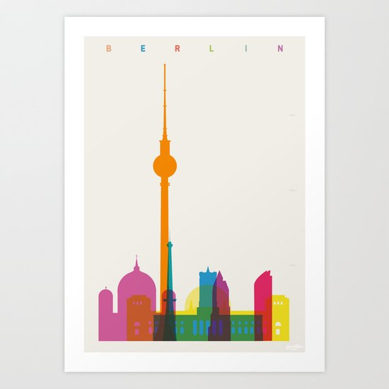 Shapes of Berlin accurate to scale Art Print