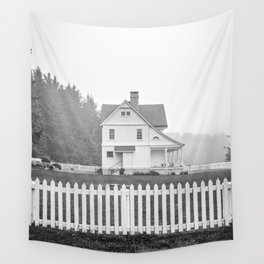 Oregon Coast   Foggy Day at Heceta Head   Black and White Photography Wall Tapestry