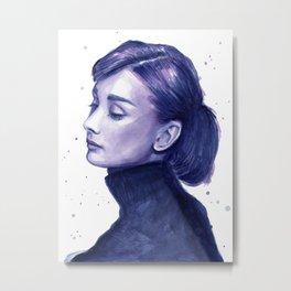 Audrey Hepburn Watercolor Portrait Metal Print
