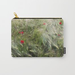 Red poppies in a wheat field. Carry-All Pouch