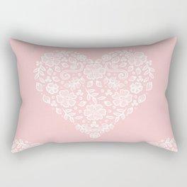 Millennial Pink Blush Rose Quartz Hearts Lace Flowers Pattern Rectangular Pillow