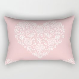 Millennial Pink Blush Rose Quartz Hearts Lace Flowers Pattern Rectangular Pillow