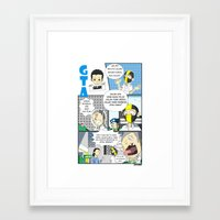 gta Framed Art Prints featuring GTA - Comic strip by Azlee Mahat