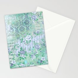 Shabby Chic Floral Collage - Teal Blue Roses Stationery Cards