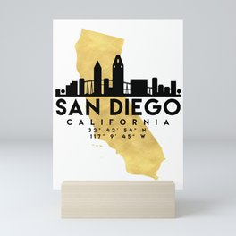 SAN DIEGO CALIFORNIA SILHOUETTE SKYLINE MAP ART Mini Art Print