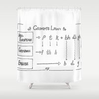 law Shower Curtains featuring Grimm's Law by Simpson Jane