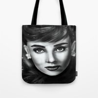 audrey Tote Bags featuring Audrey  by Lily Fitch