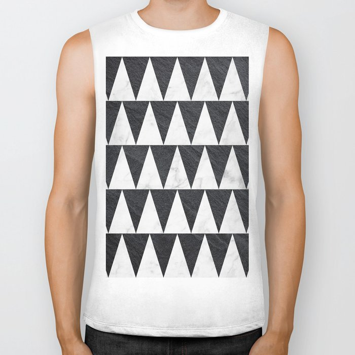 Black and White marble sharp triangles Biker Tank