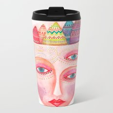 girl with the most beautiful eyes mask portrait Metal Travel Mug