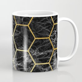 Golden black MARBLE and HONEYCOMB Coffee Mug