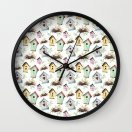 Birdhouses and nests Wall Clock