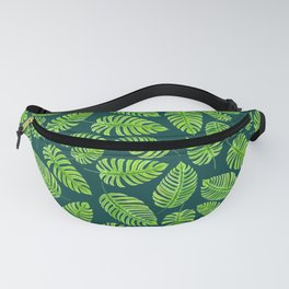 Monstera leaves, tropical watercolor pattern Fanny Pack