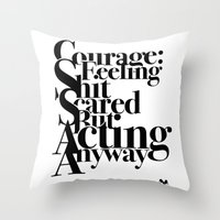 courage Throw Pillows featuring Courage by blugge