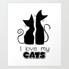 I Love My Cats (Lights) Art Print