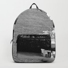 Tea at Four in the Hamptons (Fashionable Young Woman Having Tea) black and white photograph Backpack
