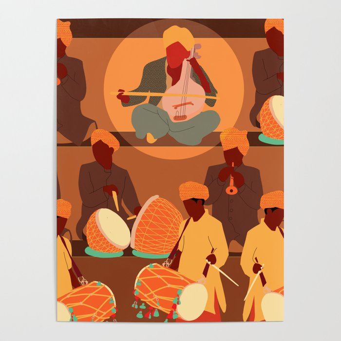 Mid Century Modern Art Indian Music Poster By Ngdesigns