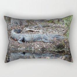 Alligator Blending In Rectangular Pillow