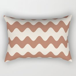Cavern Clay SW 7701 and Creamy Off White SW7012 Wavy Horizontal Rippled Stripes Rectangular Pillow