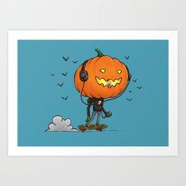 The Skater Pumpkin Art Print