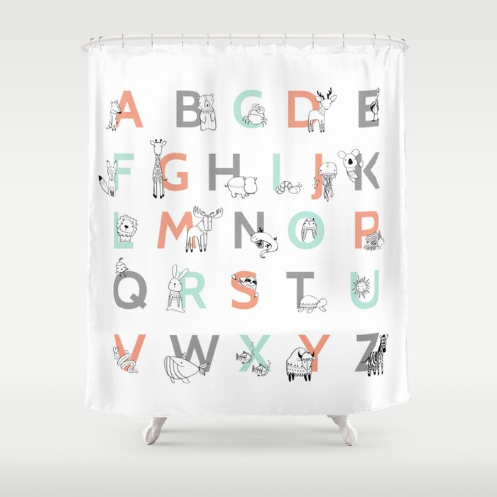 High Quality Animal Alphabet Shower Curtain